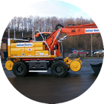 One of a pair of Doosan Dx170's converted into Ultimate 270 heavy lifter road railers