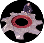 A large, refurbished and ground rotor for the paper industry.