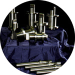 A range of mandrels and screwed shafts.