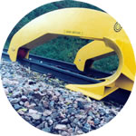 Ballast plough, hydraulically adjustable for different rail heights and sections. Available in various rail gauges