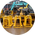 Steel sleeper grabs waiting for dispatch