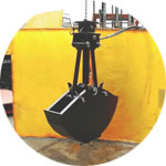 Small hydraulic powered clamshell bucket, suitable for excavating ballast between sleepers