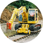 "Philmor ""Rail Bug"", conversion of a Kobelco SK135 excavator."