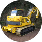 Philmor conversion of a Komatsu PC110 excavator, available in both Network Rail and LUL specification.
