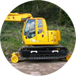 Philmor Rail Bug conversion of a JCB JS140 excavator, fitted with a twin operator's cab