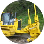 Typical Philmor dozer conversion, showing the 4 wheeled front blade bogie