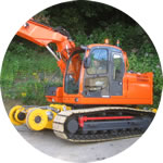 Philmor road/rail conversion of the Doosan DX160LC excavator